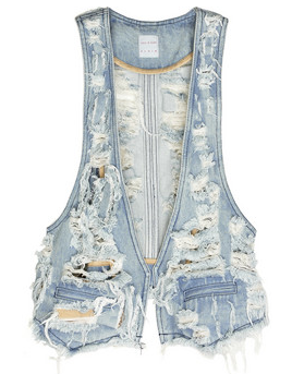 Sass and Bide Worn Denim Tuxedo Vest Fall Trend 2009