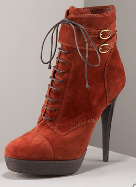 Yves Saint Laurent Orange Suede Ankle Boots Winter 2010