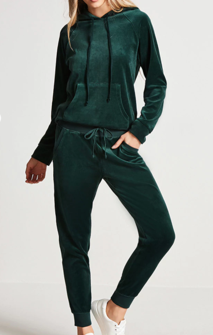 Green velvet tracksuit jumpsuit fashion.png